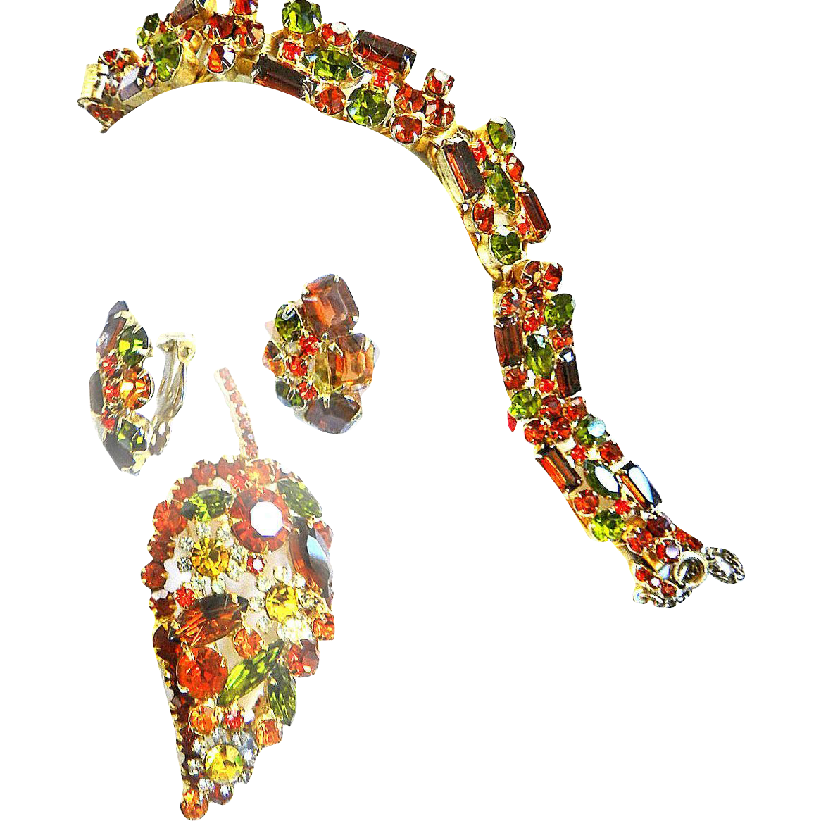 Gorgeous Juliana Autumn Colors Bracelet Earrings Brooch