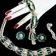 High End Runway 1940s Designer Emerald Glass Necklace Bracelet Earrings