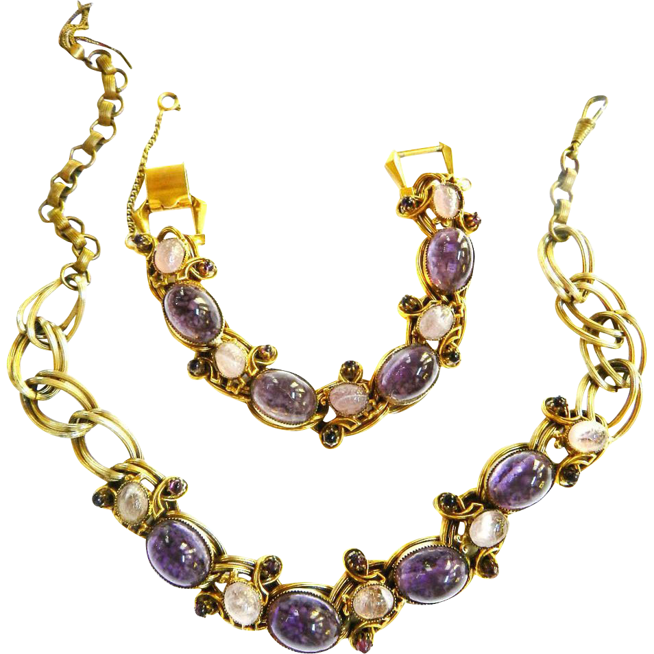 Jaw Dropping High End Magnificent Amethyst Art Glass Parure 1940s