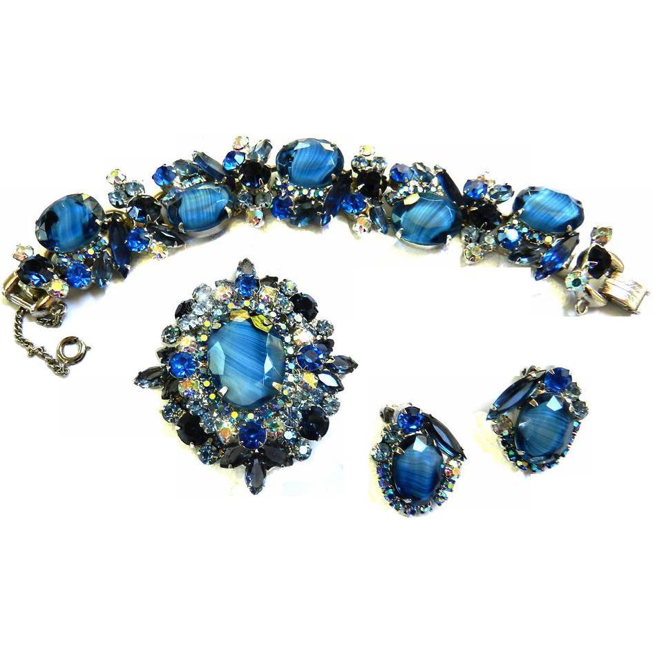 Vintage Juliana Art Glass Bracelet Earrings Brooch
