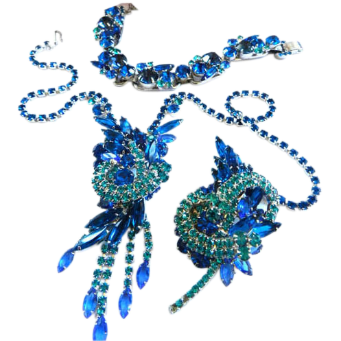 Juliana Capri Blue and Montana Necklace Bracelet Brooch