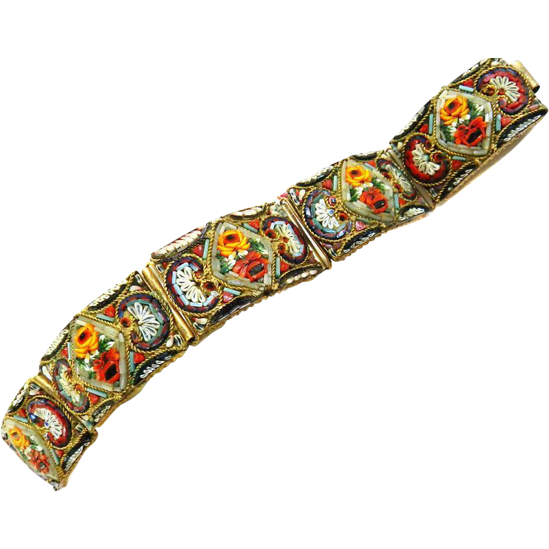 Spectacular Late 1800s Micro Mosaic Wide Bracelet  Museum Quality