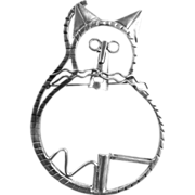 Huge 1940s Mexican Sterling Kitty Brooch