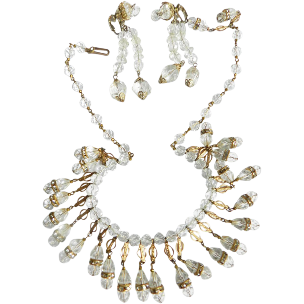 Magnificent Crystal Drippy Bib/Collar Parure 1930s