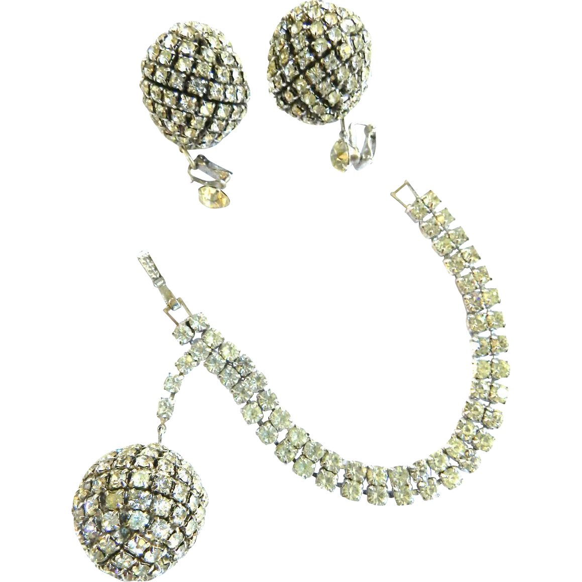 Gorgeous Chunky Designer Signed Disco Ball and Earrings 1950s