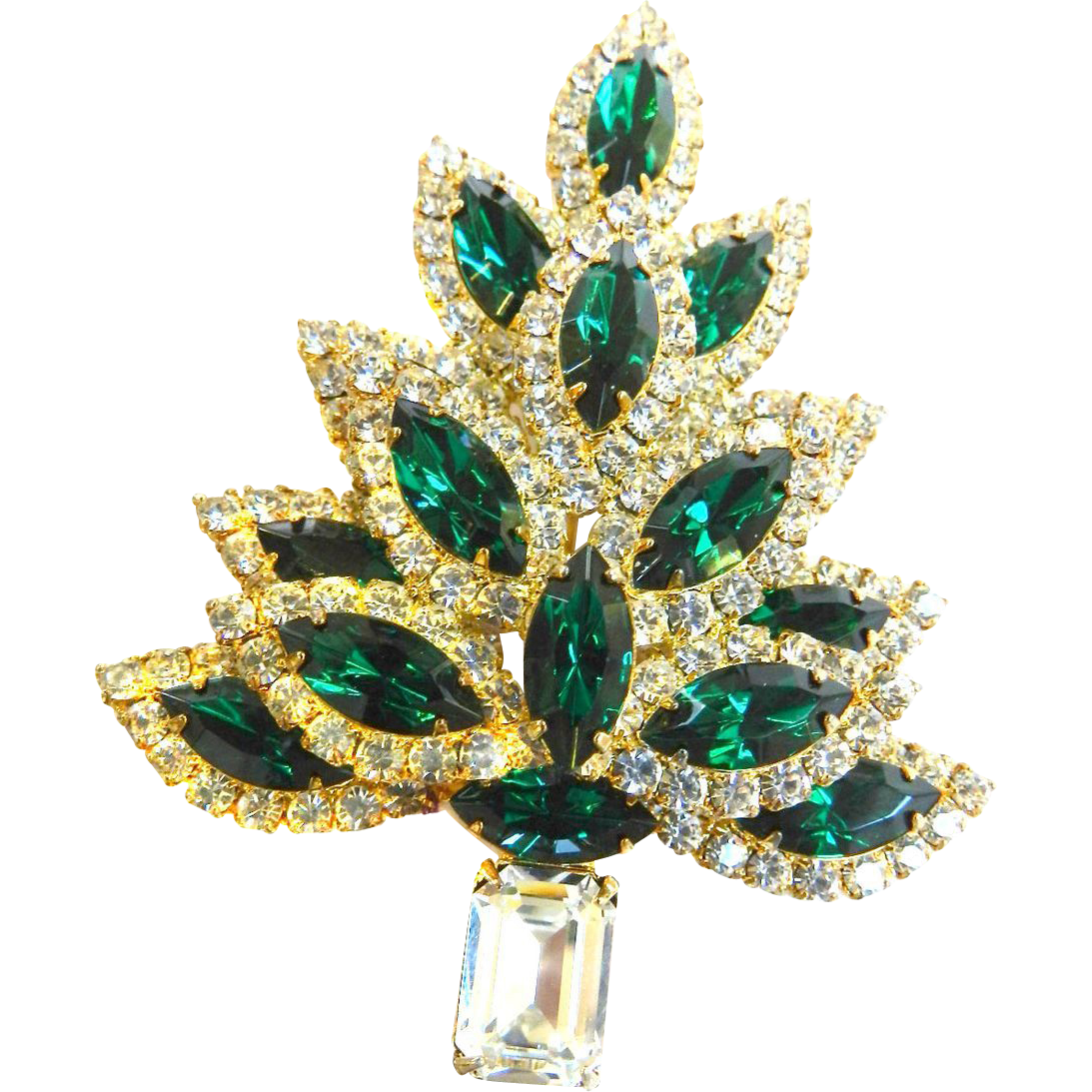 Exquisite Dazzling Massive Emerald Rhinestone Xmas Tree Brooch