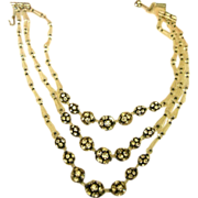 1920s Rhinestone Ball and Crystal  Necklace 3 Rows