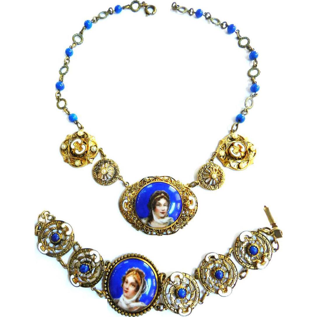 1920s Faux Pearl Czech Portrait Necklace and Bracelet with White Enamel