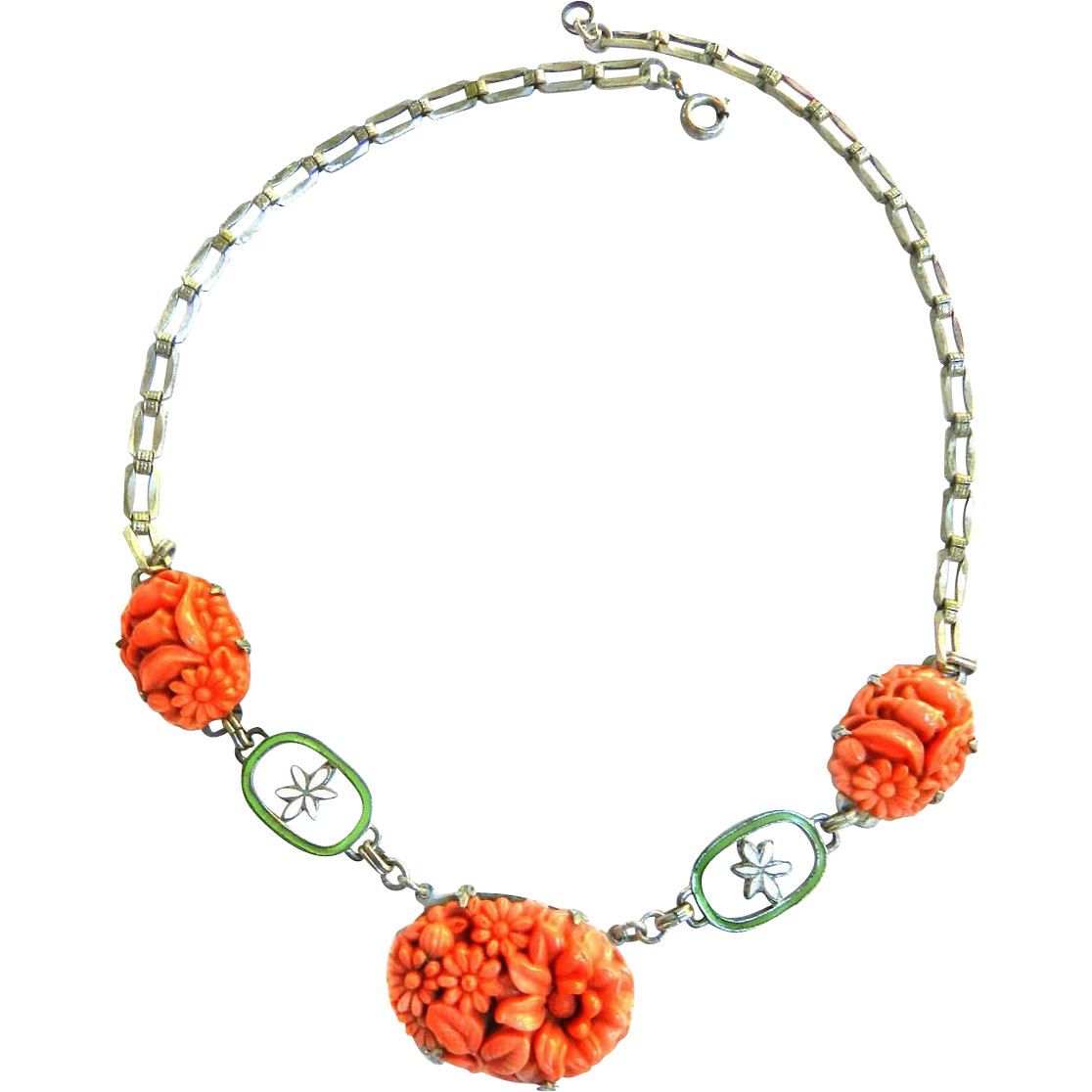 early 1900s Carved Celluloid Salmon Colored Flower Necklace from ...