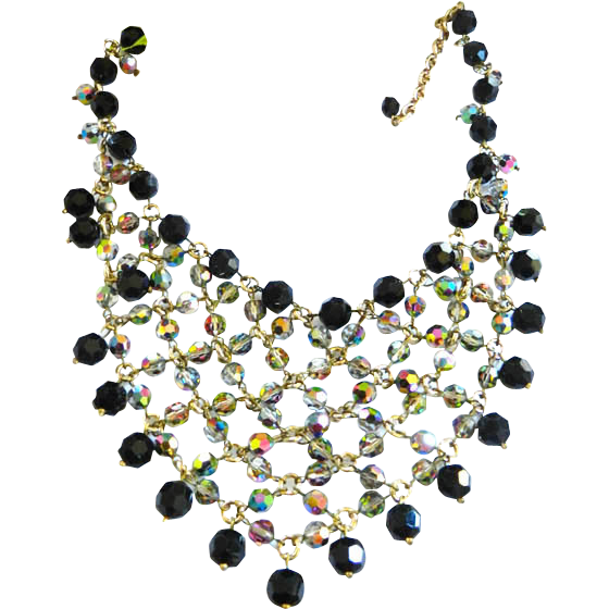 Fabulous Jet Black Faceted Glass Vintage Bib/Collar Necklace
