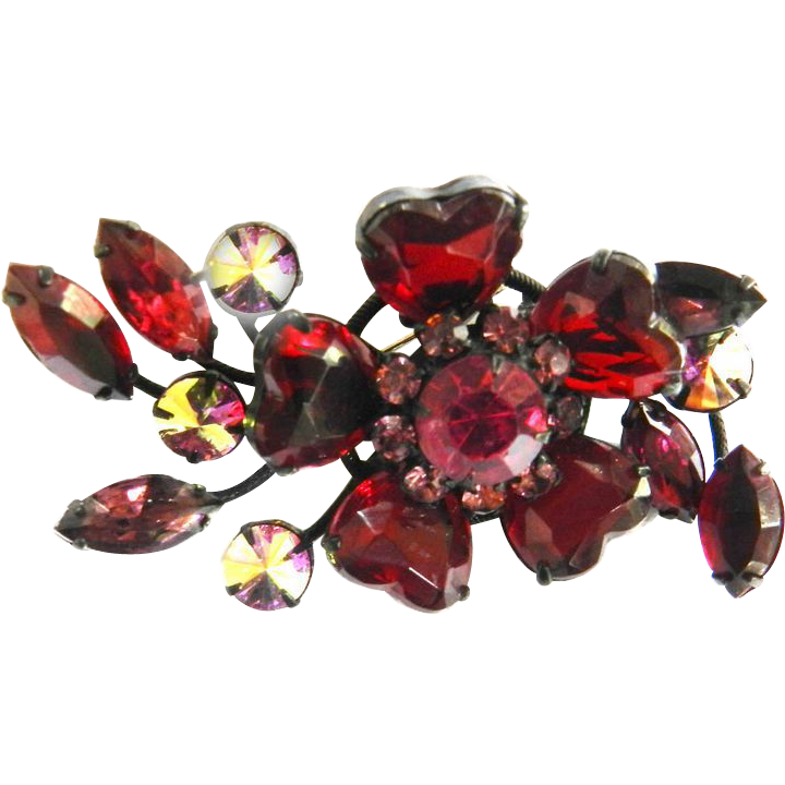 Exquisite Ruby Red Hearts Big Vintage Brooch