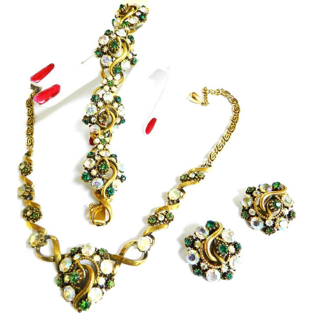 Vintage 1950s  Florenza Emerald Rhinestone Parure