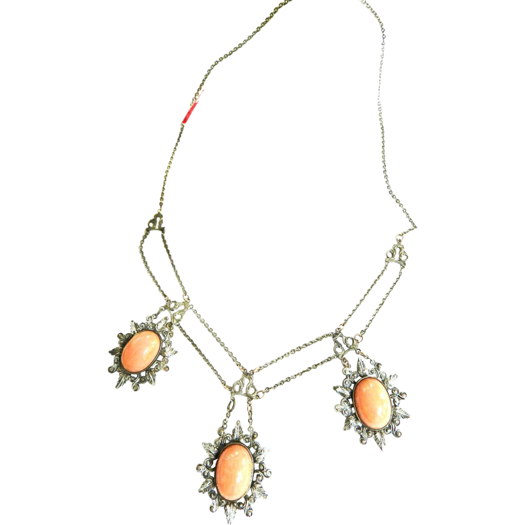 Vintage Early 1900s Coral Glass Cabochon Festoon Czech Necklace