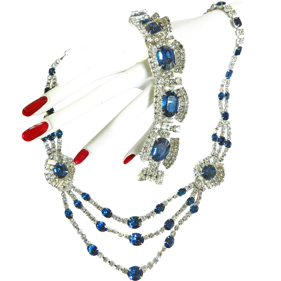 Exquisite Sapphire Blue Vintage Kramer Necklace and Bracelet