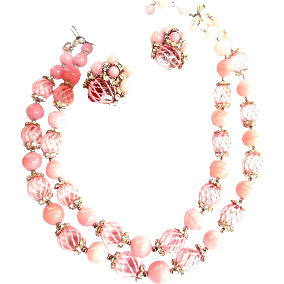 Pretty in Pink Vendome Vintage Art Glass Necklace and Earrings