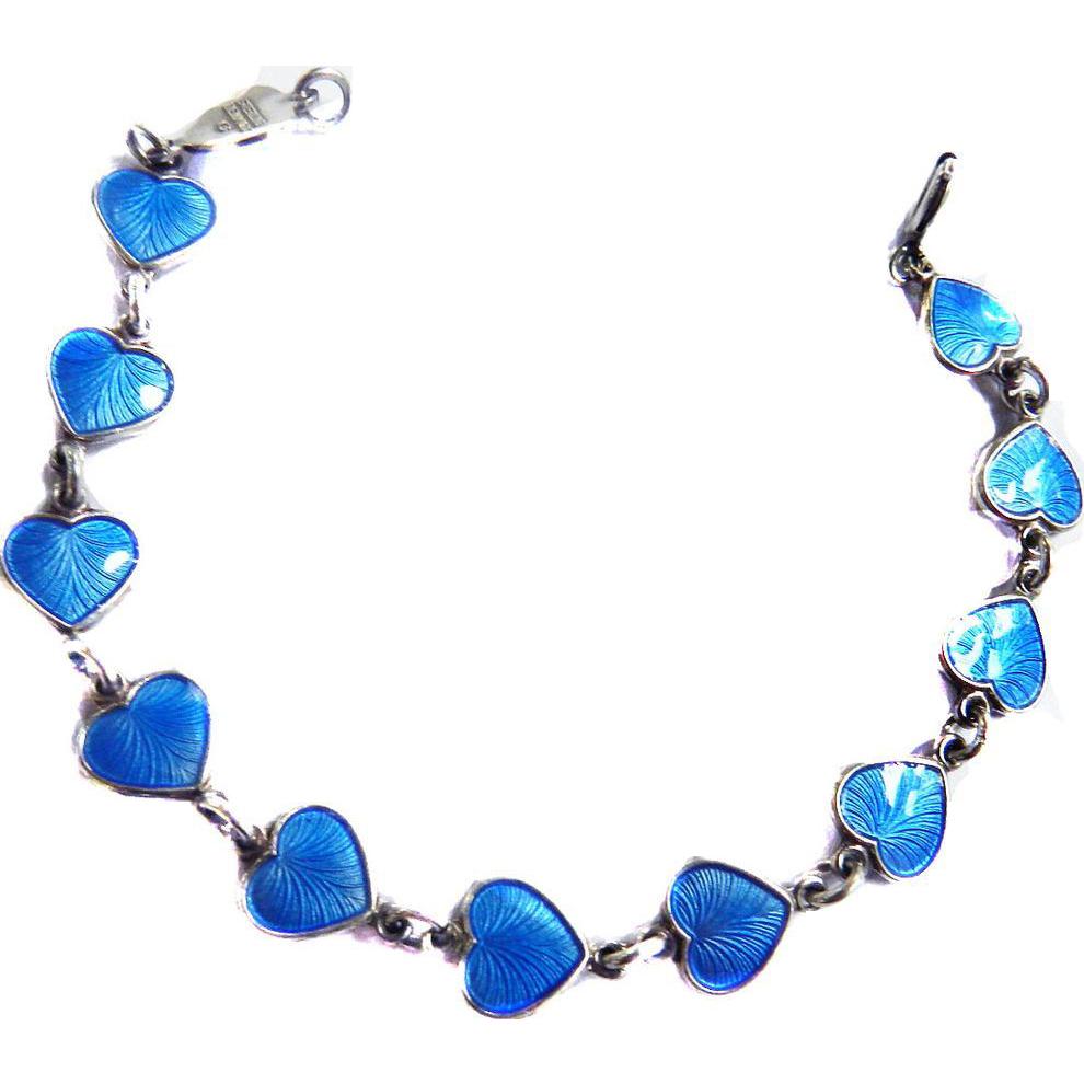 Vintage Sterling Silver Nowwegian Heart Enamel Bracelet