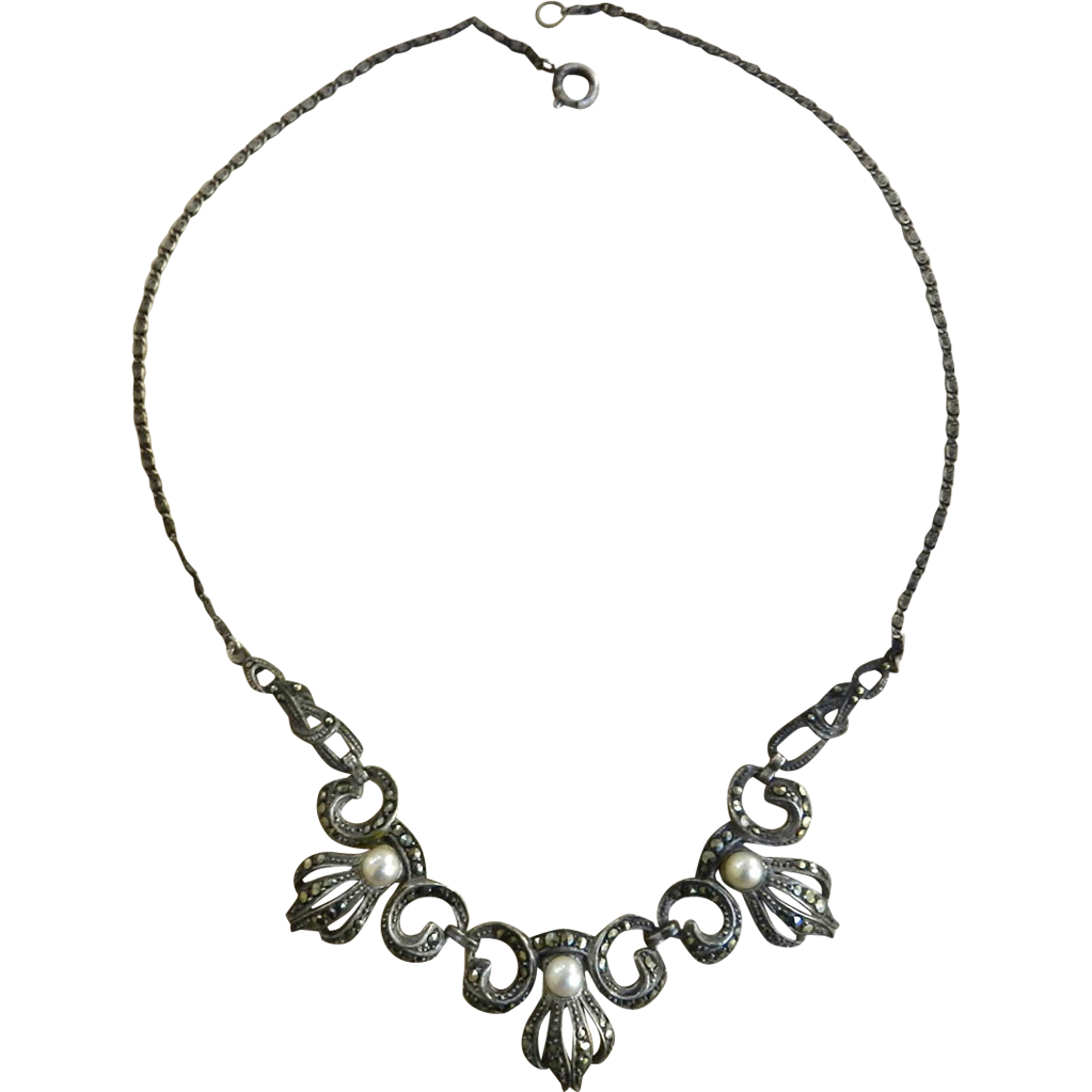 Exquisite 1930s Marcasite and Pearl Art Deco Necklace