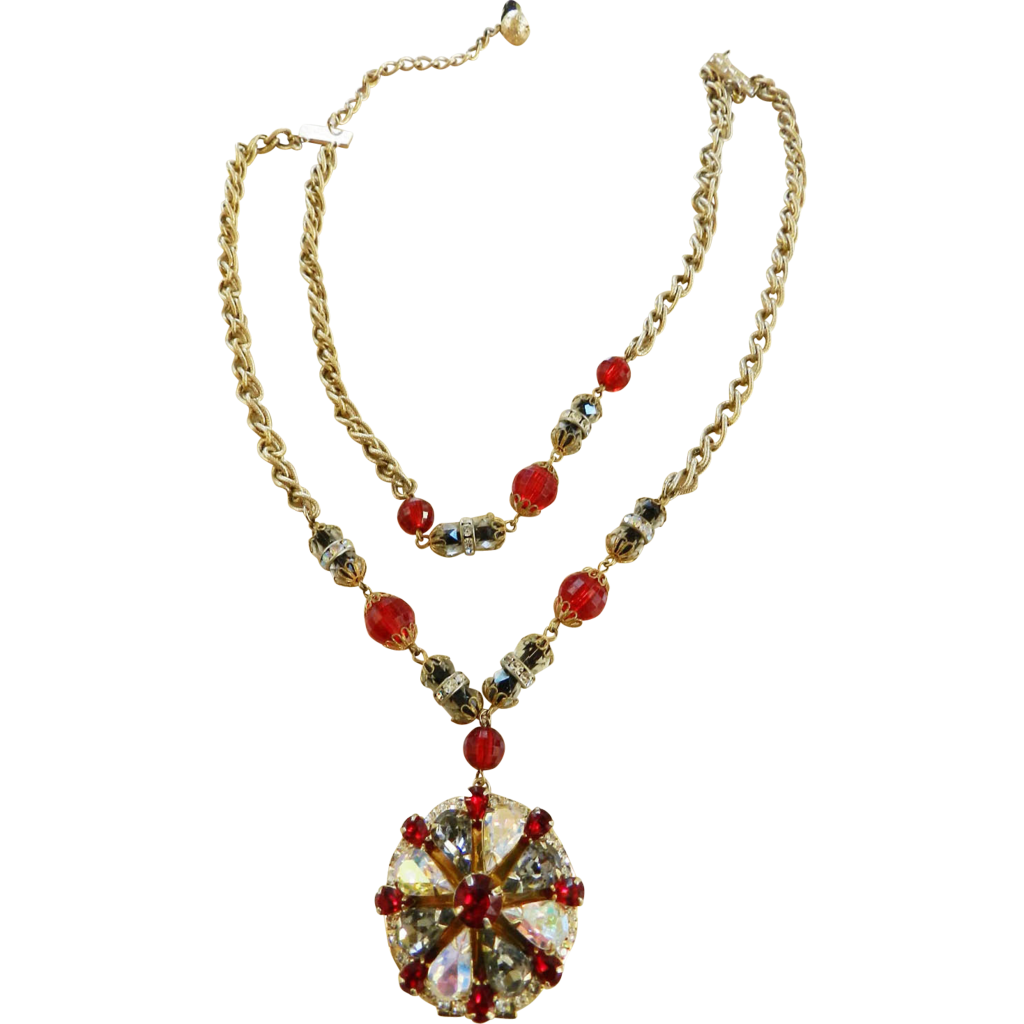 Big Statement Ruby Red and Smoke Vintage Hobe Locket Necklace and Earrings