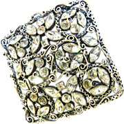 Exquisite layered 1940s Filigree and Rhinestone Brooch+