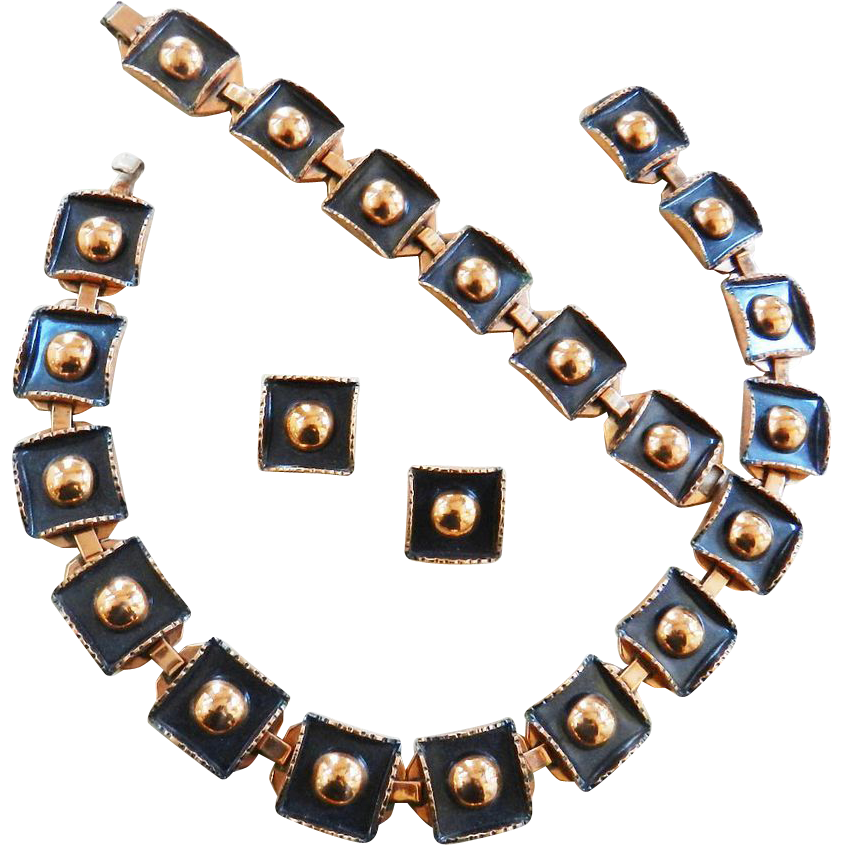 Gorgeous Renoir Vintage Black and Copper Necklace Bracelet Earrings