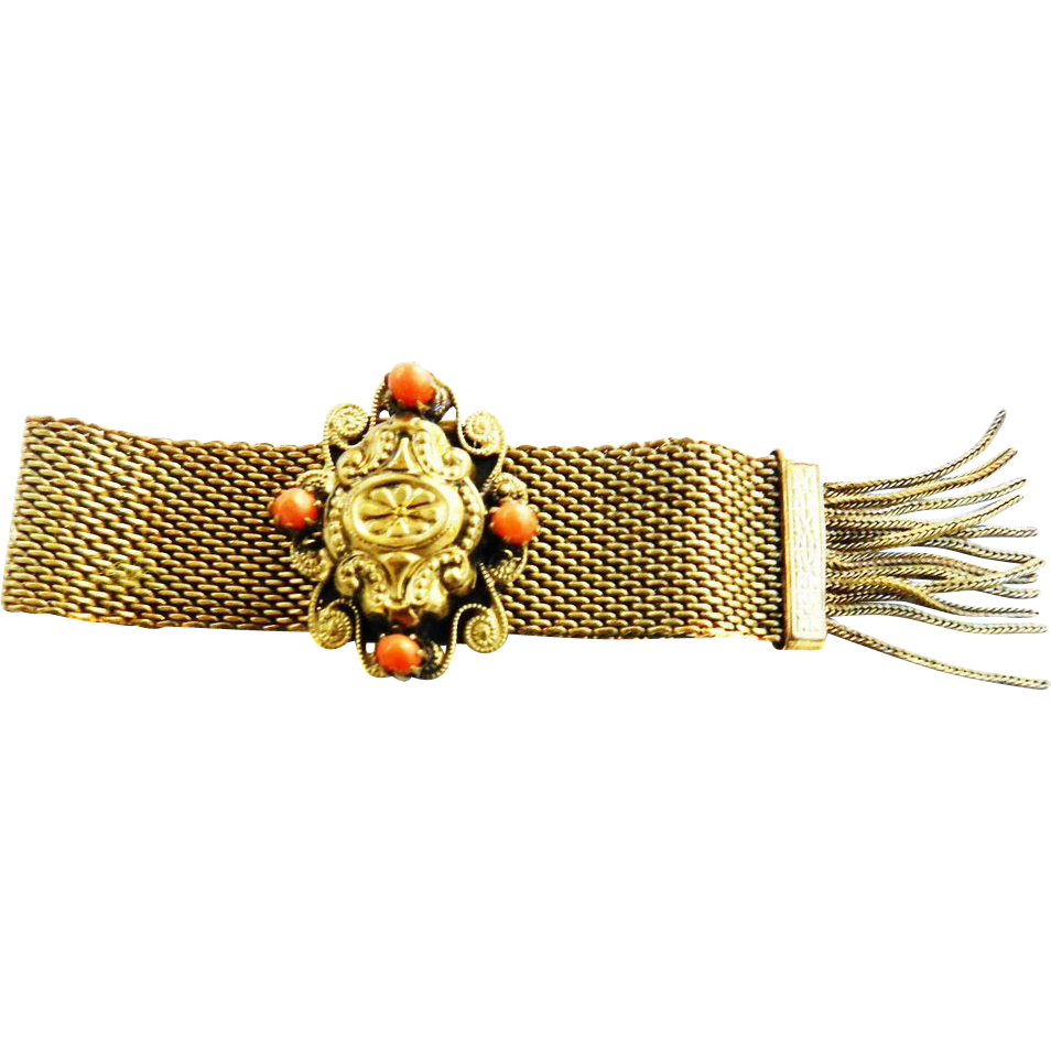 Early 1900s Victorian  Revival  Mesh and Coral Slide Bracelet