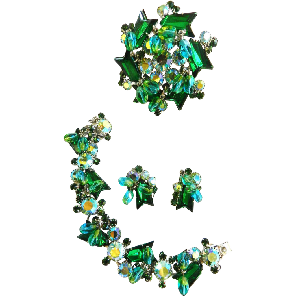 Exquisite Juliana Emerald Drippy Rhinestone Bracelet and Earrings Brooch