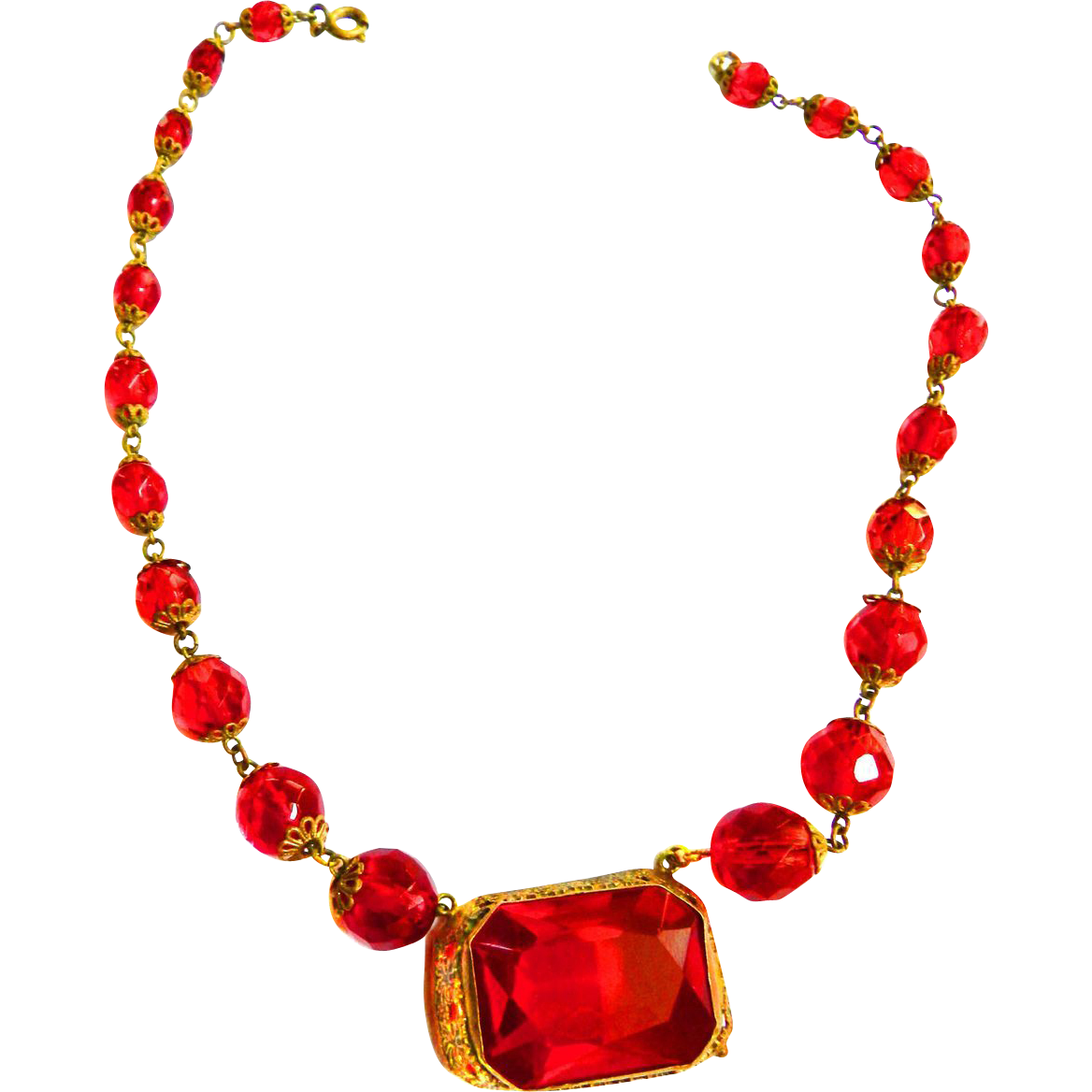 Gorgeous Red Crystal Bead and Pendant Czech Early 1900s Necklace