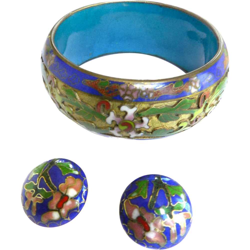 Huge 1940s Cloisonne Asian Japanese Influence Bracelet and Earrings
