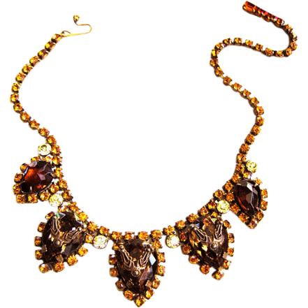 Vintage 40s Huge Topaz Detailed Layered Necklace