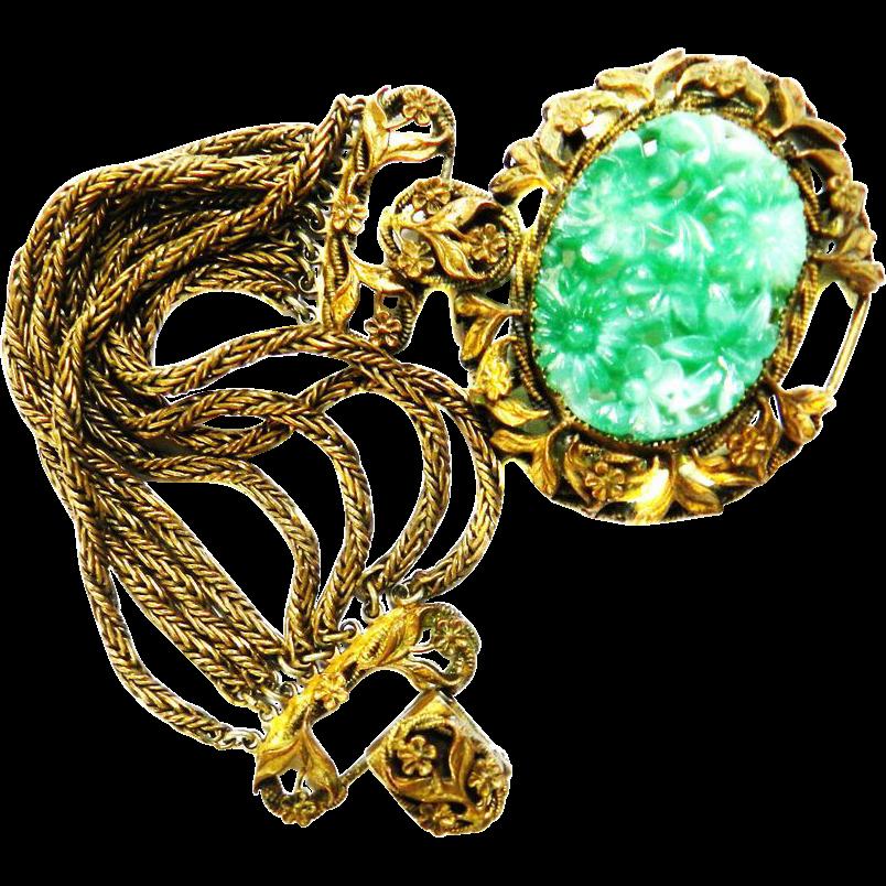 Victorian  revival Carved Glass Faux Jade Flowers Bracelet Huge