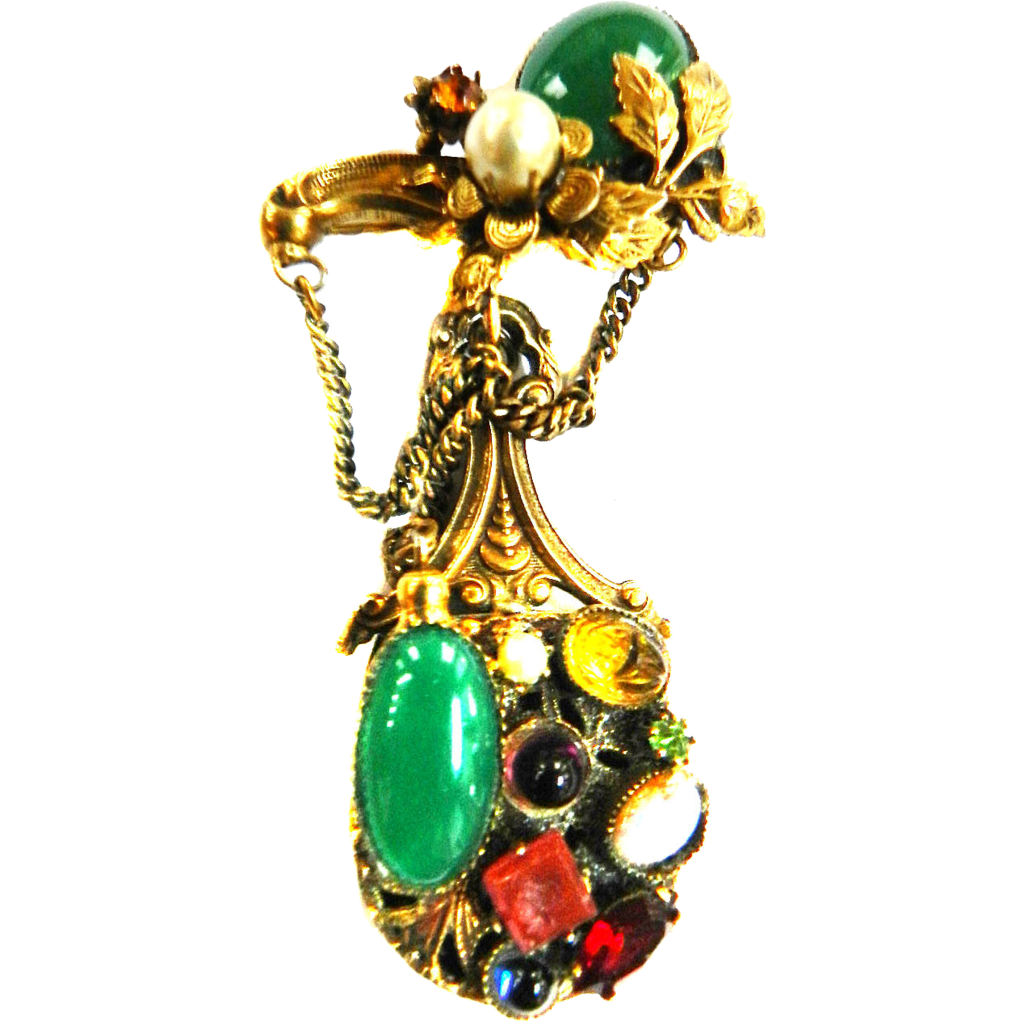 Vintage 40s Magical Drippy Brooch  Assorted Stones