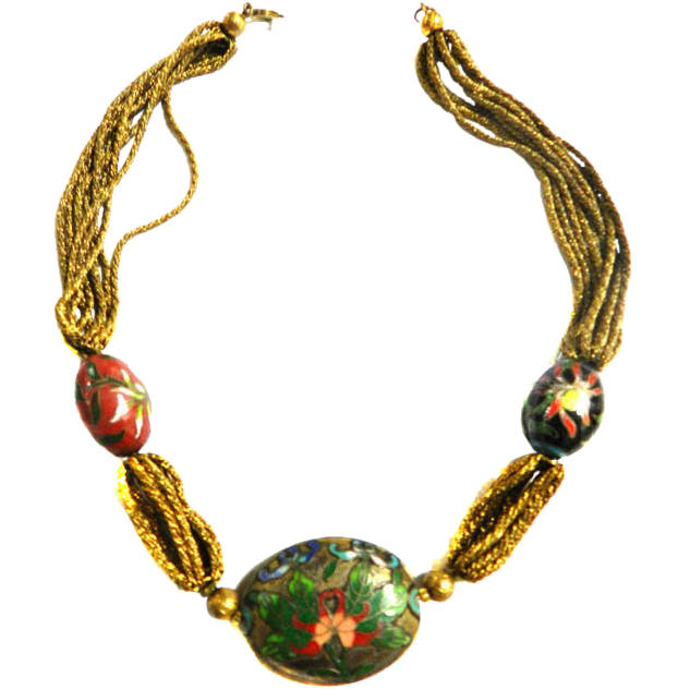 Vintage Chinese Cloisonne Golden Strands Necklace 1940s