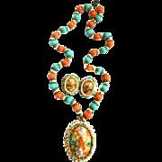 Long Designer Turquoise Glass Bead and Egg Stone Demi Set Vintage