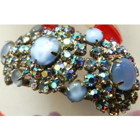 Vintage Juliana Blue Moonstone Rhinestone Clamper