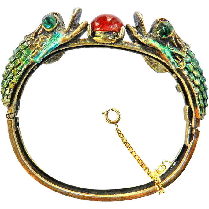 Playful Dolphin Highly detailed Rhinestone and Enamel Clamper Bracelet