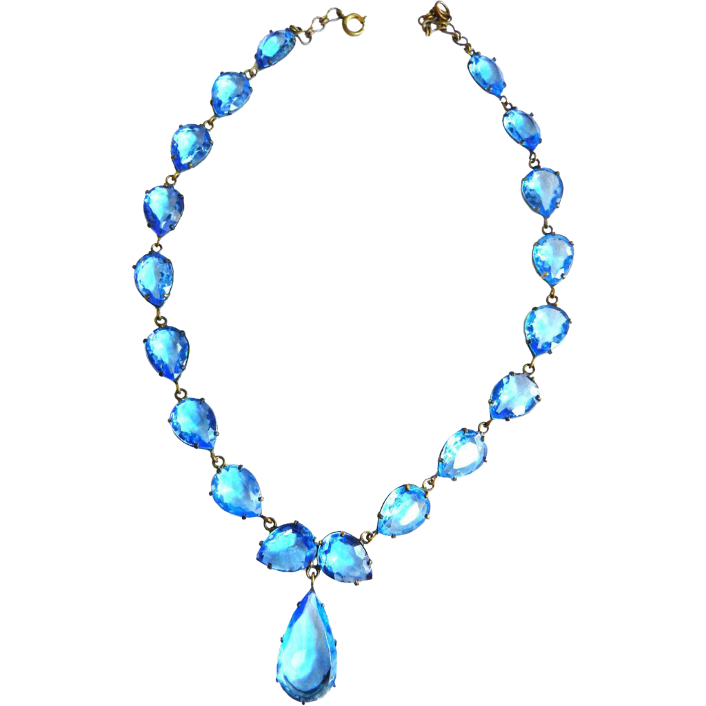 Victorian Revival Early 1900s Baby Blue Pear Shaped Glass Necklace