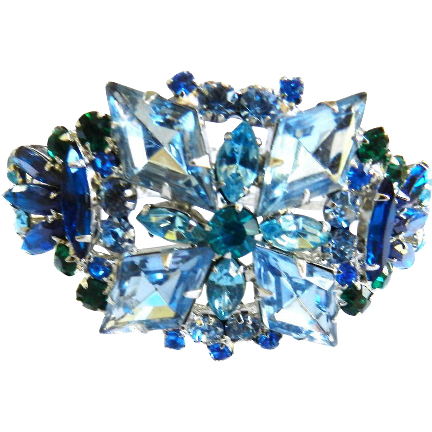 Juliana Big Bold Sapphire and Emerald Rare Clamper Bracelet