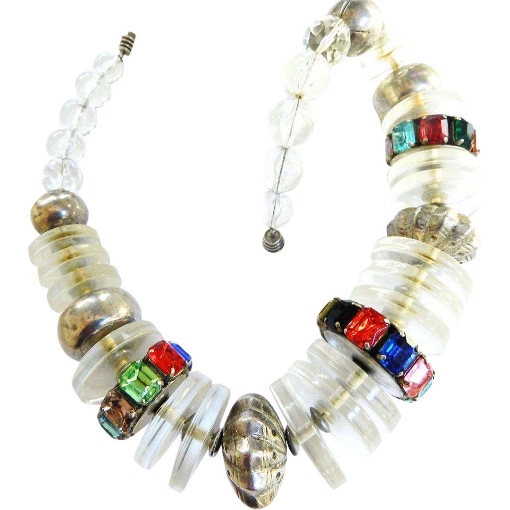 Runway Vintage Lucite Huge Necklace with Rhinestones