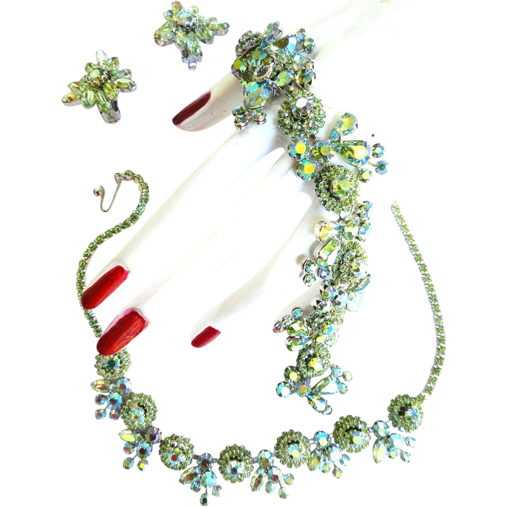 Fabulous Elegant Weiss Peridot Necklace Bracelet Earrings c.50s