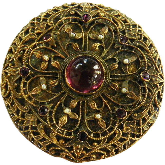 Late 1800s Cannetille Brass Powder Compact