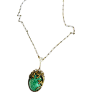 Mystical Victorian Style Early 1900s Griffin Faux Jade Necklace