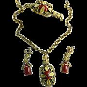 Uber Magnificent Victorian  Carnelian Detailed Necklace Bracelet Earrings