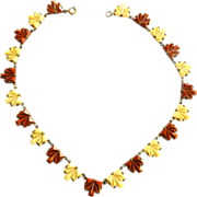 Exquisite Early 1900s Czech Carnelian and Cream Step Glass Necklace