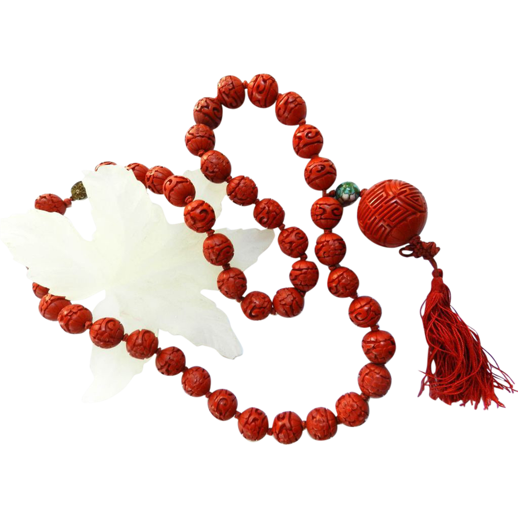 carved cinnabar vintage necklace from