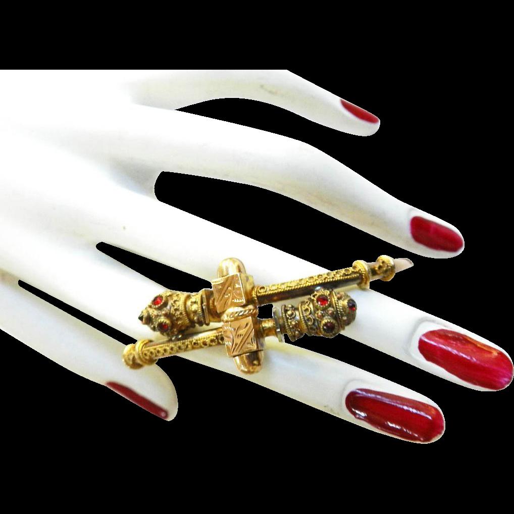 Fabulous 1870s Rolled Gold and Bohemian Garnet Cross Over Bracelet