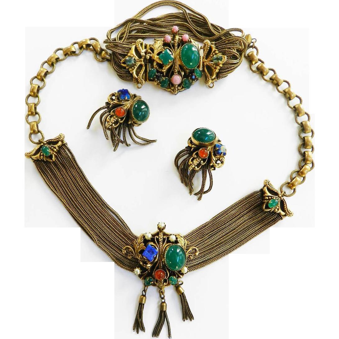 Vintage 40s Mogul Faux Stones Drippy Necklace Bracelet and Earrings Parure