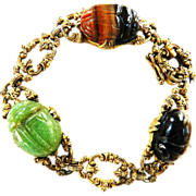 Mesmerizing Magical Victorian Revival Glass Scarab Bracelet Egyptian