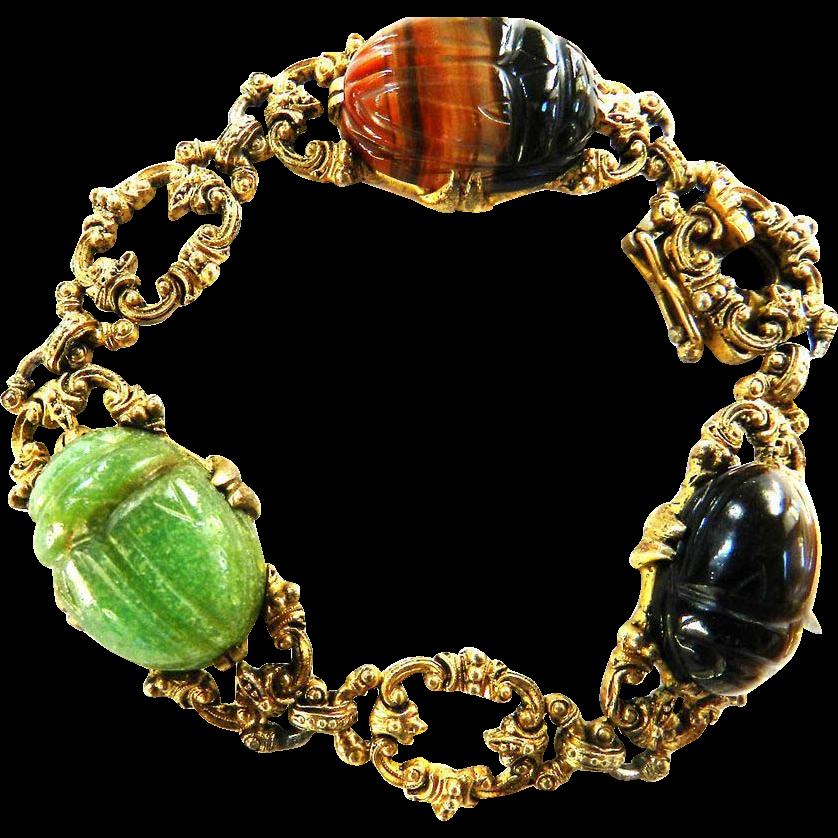 Mesmerizing Magical Victorian Revival Glass Scarab Bracelet Egyptian