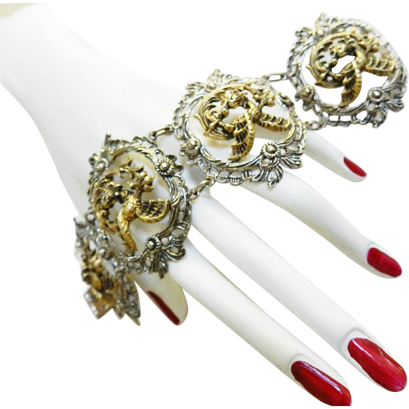Magical Mesmerizing Vintage European Silver Griffin Massive Bracelet