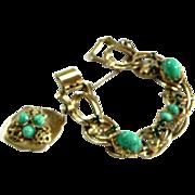 fabulous Kafin NY Heavy Faux Jade Big Drippy Charm Bracelet C.1950s